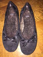 Ladies Stuart Weizman Black Fur Lined Flats