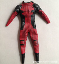 """1/6 Hot Toys MMS347 Deadpool tailored red leather suit clothes fit 12"""" body"""