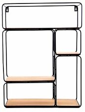 Rectangle Multishelf Black Metal Single Coated Wall Unit Bookcase Display Rack