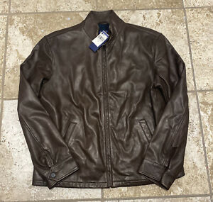 Men's Polo Ralph Lauren Genuine Leather Black Watch Plaid Brown Jacket Large New