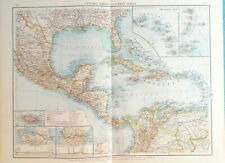 Map of Caribbean & West Indies. 1900. JAMAICA. CUBA. MEXICO. BARBADOS.