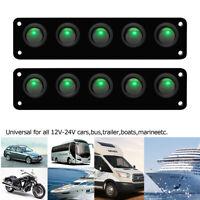2X 5 Gang Rocker Switch Panel Car Boat Marine Green LED Circuit Breaker 12V-24V