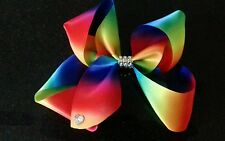Large Rainbow bow clip.Girls hair rhinestones Multi coloured. Dance shows