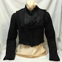 Antique 1880s Victorian Shirtwaist Boned Bodice Black White Dot Buttons Ruffles