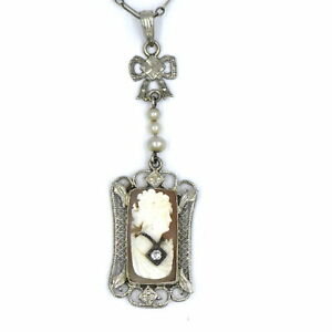 ANTIQUE VICTORIAN DIAMOND CAMEO PENDANT SEED PEARL NECKLACE 14K WHITE GOLD CHAIN