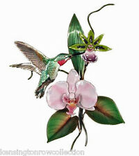 WALL ART - HUMMINGBIRD WITH ORCHID BLOSSOMS METAL WALL SCULPTURE - WALL DECOR