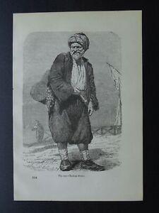 Turkey A TURKISH PORTER Original Victorian Print by Figuier c1893
