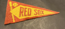 "1936-37 BOSTON RED SOX BF3~4.25"" FELT BASEBALL PENNANT~GOLD BASEBALL/BAT VAR."