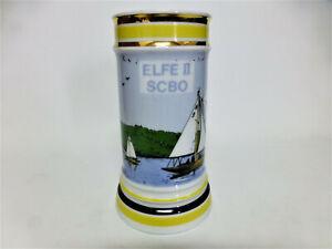 ELFE II SCBO Keramik Bierkrug Handarbeit 22 Karat Goldauflage