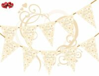 Just Married Vintage Lace Ivory Bunting Banner 15 flags Simply Stylish Touch UK