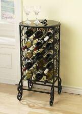 Wine Rack Bottle Holder Organizer Bottles Table Top Free Standing Black Metal