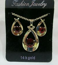 14K Gold Plated Pendant Necklace and Pierced Earring Set w/Ruby Faceted Crystals