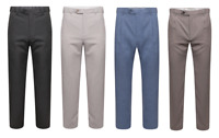 Men's Ex M&S Formal Trousers Suit Regular Fit Work Smart Pants Active Waistband