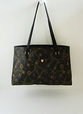 Mark Cross Rare Shields & Crowns Black Pebbled Leather Large Tote Bag