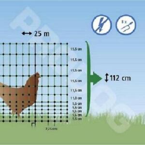 Filet cloture 2 pointes   H112cm / L25m pour poule, volaille, non electrifiable