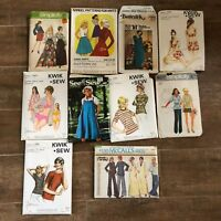 Womens Vintage 1970s BOHO sewing patterns lot kwik sew mccalls bathing suit