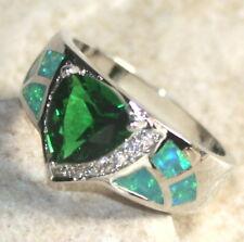SILVER Elegant Green Fire Opal & Green Peridot Ring Size 8, WR40703