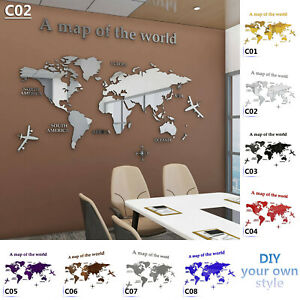 3D World Map Acrylic Wall Sticker for Meeting Room Study Room Classroom