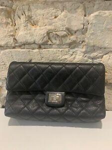 100% Authentic CHANEL UNIFORM Waist-Belt Bag Black Quilted Grained Leather