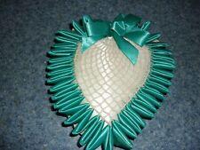 vintage crocheted, teal ribbon pillow pincushion satin heart  GUC 8X7X2