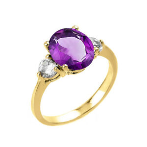 2.0 CTW Oval Amethyst Three Stone Engagement Ring in Yellow Gold