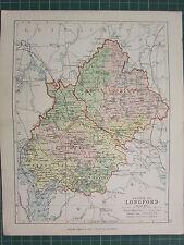 1885 ANTIQUE COUNTY MAP IRELAND ~ LONGFORD RATCLINE MOYDOW GRANARD