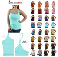 H88 BUILT IN BRA ADJUSTABLE SPAGHETTI STRAP CAMI TANK TOP WOMENS PLUS 1X 2X 3X