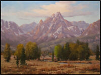 JEFF LOVE Art Original Oil Painting Western Mountains Pack Horses Cowboys