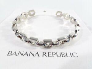 Banana Republic Women's Metallic Silver Crystal Pave Cuff Bracelet NWT 49