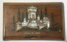 Vintage Portasigarette legno intarsio madreperla, paesaggio con chiesa ortodossa