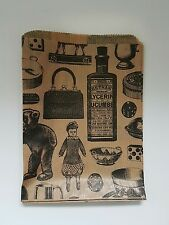 """Kraft Paper Gift Bag Victorian Vintage Printed small 5""""x7"""" 100 pieces craft,shop"""