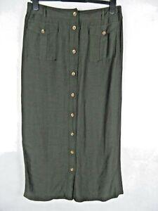 APANAGE Midi Skirt Size 14 Khaki Utility Button Down Pockets Flax Linen Blend