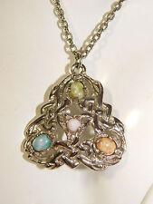 """Celtic Knot Triquetra Scottish Glass Agate Silver Pendant 24"""" Necklace 2b 97"""
