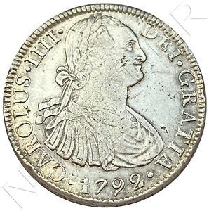 ESPAÑA 8 reales plata 1792 F.M. Mexico Rey de España Carlos IV