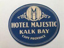 Vintage Hotel Majestic Kalk Bay Cape Province SA Luggage / Baggage Label