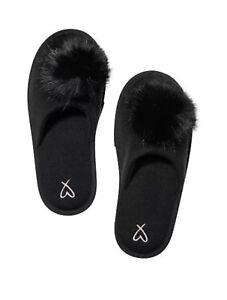Victoria's Secret Black Pom Pom Slippers Size S 5-6 Limited Edition New