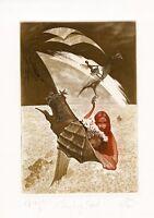 Nude, Seashell, Surrealistic Ex libris Etching by Peter Velikov, Bulgaria