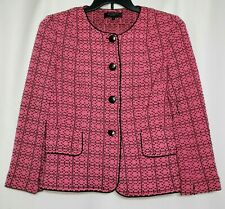 St. John Knit Blazer Size 10 Black Label Spring 2015 Pink Black USA