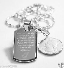 SERENITY  PRAYER  CROSS STAINLESS STE 3D SMALLER SAUSAGE CHAIN DOG TAG NECKLACE