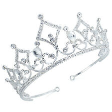 TQE51 Clear Rhinestone Alloy Tiara Crown Pageant Bridal Wedding Party Prom Gift