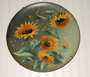 Vintage Large Sunflower Charger  Watcombe Torquay Pottery Signed & Dated 1891