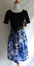 NWT Coldwater Creek Size 4 Blue Black Retro Inspired Summer Tea Dress & Belt