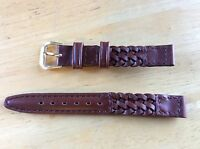 NEW KREISLER WATCH BAND BRACELET- Woven Genuine Leather 12mm 220102-12 Brown