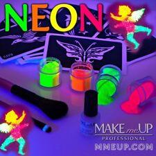 KIT 20 Neon Glitter Tattoo glue brush stencil UV Fluorescent Glitter party