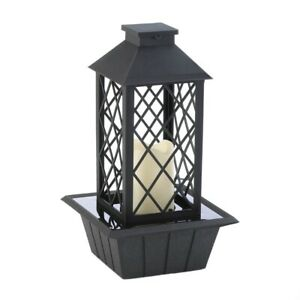 Black Lantern Tabletop Fountain w/ LED Flameless Candle Electrical