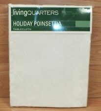 Genuine Living Quarters White Holiday / Christmas Poinsettia Tablecloth