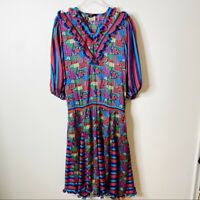 Vintage Diane Fries Maxi Length Colorful Dress Party Tassel 80s 1980s Large