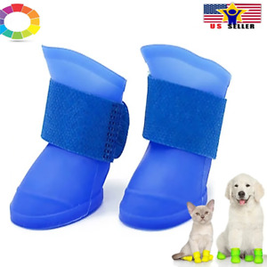 4Pcs Protective Waterproof Dog Cat Rain Boots Silicone Pet Shoes Adjustable Paw