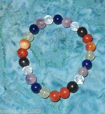 Chakra 7 Genuine Gemstone & Crystal Beads Stretch Bracelet NEW Healing Energy A