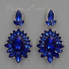 Rhodium Plated Blue Crystal Rhinestone Wedding Drop Dangle Earrings 08936 New